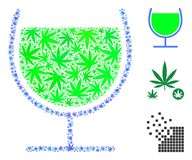 Wine Glass Collage of Weed Leaves. Wine glass composition of hemp leaves in various sizes and color tones. Vector flat hemp elements are grouped into wine glass Stock Photos