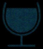Wine Glass Composition Icon of Halftone Spheres. Halftone Wine glass composition icon of empty circles in blue color tones on a black background. Vector spheric Stock Photography