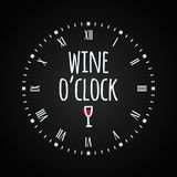Wine glass concept with clock face. Wine oclock lettering . Wine glass concept with clock face. Wine oclock lettering. 8 eps Stock Photography