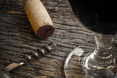 Wine Glass with Cork and Corkscrew Royalty Free Stock Photo