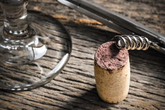Wine Glass with Cork and Corkscrew Royalty Free Stock Images