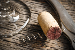 Wine Glass with Cork and Corkscrew Stock Photo