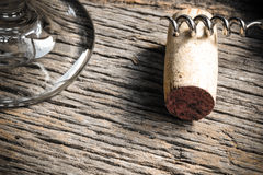 Wine Glass with Cork and Corkscrew Stock Image