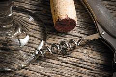 Wine Glass with Cork and Corkscrew Stock Photography