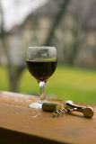 Wine glass. Wine with glass and corkscrew Stock Images