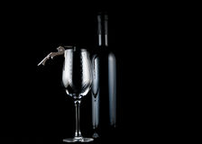 Wine, glass and corkscrew. Royalty Free Stock Photos