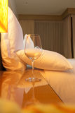 Wine glass cup in  luxury hotel room Stock Photo