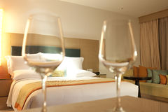Wine glass cup in  luxury hotel room Royalty Free Stock Photo