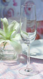 Wine glass on dining table Royalty Free Stock Photos