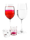 Wine glass and dishware Royalty Free Stock Image