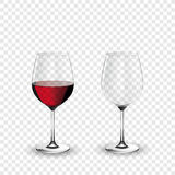 Wine glass, empty and with red wine, transparent vector illustration. Eps 10 Royalty Free Stock Images