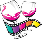 Wine glass and film. Concept been created as vector Royalty Free Stock Image