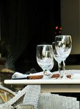 Wine glass and fine dining outdoor Stock Photos