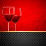 Wine Glass on Floral Background. Illustration of pair of wine glass on floral background Royalty Free Stock Photos