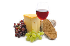 Wine glass and food Stock Image