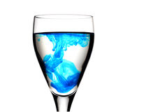 Wine glass with food colouring Royalty Free Stock Photos