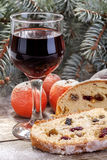 Wine glass with fruit cake Stock Images