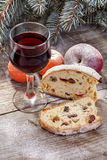 Wine glass with fruit cake Royalty Free Stock Image
