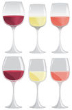 Wine glass. Glasses of red, white and pink wine in gradient or flat colors Stock Images
