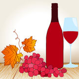 Wine, glass and grape on the table Stock Photography