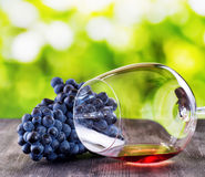 Wine glass with grape on wooden table Stock Photos