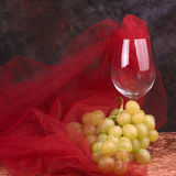 Wine Glass with Grapes. Wine glass with red tulle and cluster of green grapes stock photography