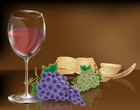 Wine glass  grapes book Royalty Free Stock Photos