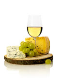 Wine glass, grapes and cheese Stock Photo