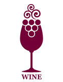 Wine glass and grapes icon Royalty Free Stock Photos