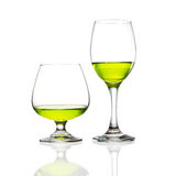 Wine glass and green cocktail  Royalty Free Stock Image