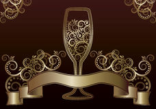 Wine glass greeting card Stock Image