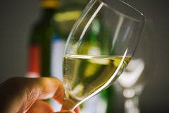 Wine Glass in Hand. Bottles in the background Stock Photo