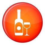 Wine and glass icon, flat style Royalty Free Stock Image