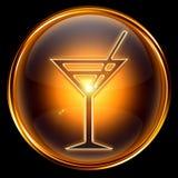 Wine-glass icon golden. Royalty Free Stock Photo