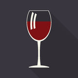 Wine glass icon with long shadows Stock Photos