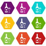 Wine and glass icon set color hexahedron. Wine and glass icon set many color hexahedron isolated on white vector illustration Royalty Free Stock Image