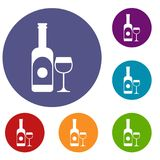 Wine and glass icons set. In flat circle reb, blue and green color for web Stock Photography