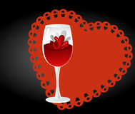 Wine glass iwth heart Royalty Free Stock Image