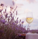 Wine glass and lavender. Wine glass against lavender landscape Stock Photos