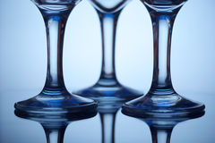 Wine glass legs. Wine glasses ligs with reflections Stock Photography