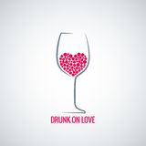 Wine glass love heart concept design background Royalty Free Stock Photos