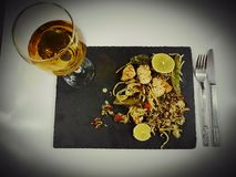 Wine glass lunch dinner romantic alcohol drink. Food delicious elegant eat table beverage Stock Image