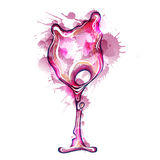 Wine glass made of colorful splashes Stock Images