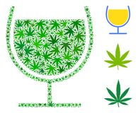 Wine Glass Mosaic of Cannabis. Wine glass composition of marijuana leaves in different sizes and green shades. Vector flat marijuana leaves are organized into Royalty Free Stock Photos