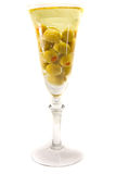 Wine glass with olive oil Royalty Free Stock Photos