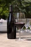 Wine & glass for outdoor dining Royalty Free Stock Photography