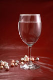 Wine glass and pearls Royalty Free Stock Photography