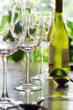 Wine glass and place settings Stock Photos