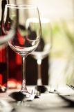 Wine glass and place settings Royalty Free Stock Image