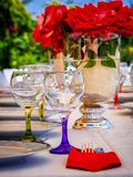 Wine glasses in a dinner table stock image